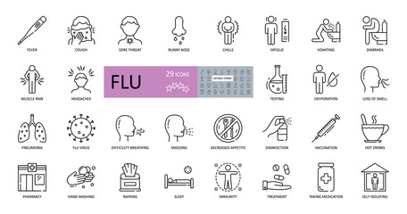 Set of vector flu icons with editable stroke. Symptoms, treatment and prevention of colds. Virus, fever, sneezing, runny nose, fatigue, headache, muscle pain, pneumonia, vomiting, cough, sore throat Fotobehang
