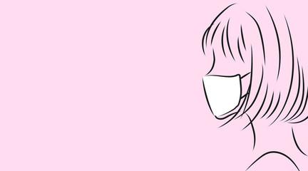 マスクをつけた女性の横顔。ピンク背景のシンプルイラスト