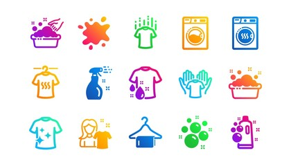 Dryer, Washing machine and dirt shirt. Laundry icons. Laundromat, hand washing, laundry service icons. Classic set. Gradient patterns. Quality signs set. Vector
