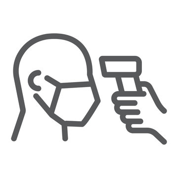 Checking body temperature line icon, coronavirus and covid 19, temperature scaning sign, vector graphics, a linear pattern on a white background, eps 10.