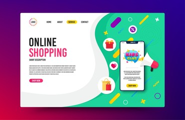 Landing page with phone mockup. Kids club icon. Fun playing zone banner. Children games party area icon. Website template banner with smartphone screen. Shopping mockup web page template. Vector