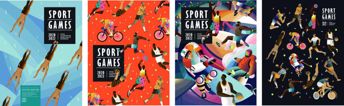 Sport games! Vector illustrations of athletes, swimmers, hockey player, jumper, runner, volleyball, basketball player, soccer player, cyclist, tennis player for poster, banner or cover design.