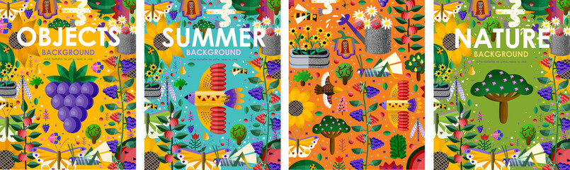 Summer time! Set posters of bright backgrounds and objects with summer flowers, juicy fruits, abstract birds, butterfly, gardening and nature. Vector illustration for banner, card, poster or postcard Fototapete