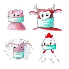 Farm animals with face masks