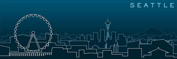 Seattle Multiple Lines Skyline and Landmarks Wall mural