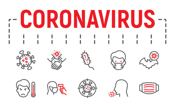 Coronavirus line icon set, illness symbols collection, vector sketches, logo illustrations, covid 19 icons, epidemic signs linear pictograms package isolated on white background.