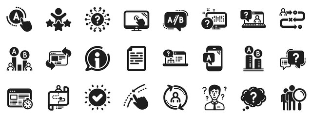 Set of AB testing, Journey path map and Question mark icons. UX icons. Usability quiz test, Ux Ui and User flow. Project process, ab testing graph, survey test results. Quiz question. Vector