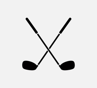 Stick golf icon vector logo template