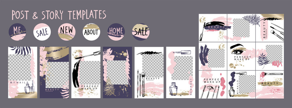 Editable layout templates for social media posts and stories, mobile apps, banner or flyer design. Puzzle textured background with cosmetics and make up brush strokes