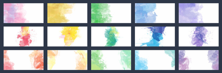 Fotobehang - Big set of beauty vector colorful watercolor backgrounds for business card, brochure or flyer
