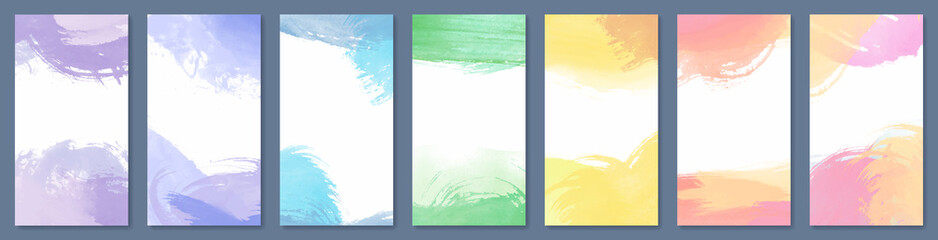 Fotobehang - Set of light colorful hand drawn vector watercolor backgrounds for poster, brochure or flyer