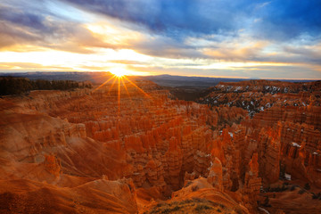 Deurstickers Rood paars Spring sunrise in Bryce Canyon, Utah, USA.