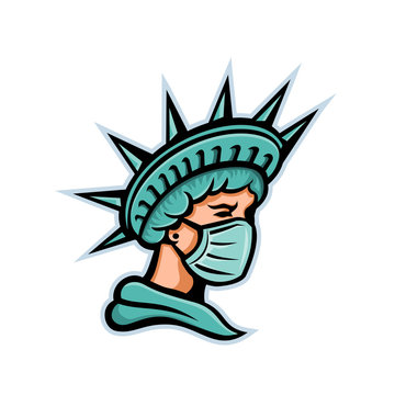Mascot icon illustration of head of Statue of Liberty, the iconic American symbol of justice and freedom wearing a surgical mask to protect health from pandemic on isolated background in retro style.