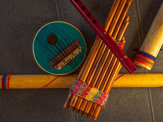 View from above of handmade instruments in Peru. Concept of traditional Andean music