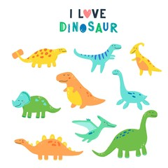 Cute dinosaur set for kids, baby clipart design. Colorful dino of hand drawn style. Vector illustration of dinosaurs isolated on background.