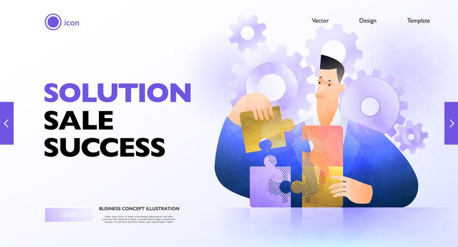 Business solution concept banner. Businessman solving jigsaw puzzle figuring out what is best. Business vector illustration.