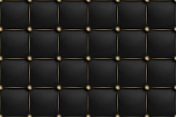 Modèle sans couture de texture horizontale en cuir mat noir. Canapé riche en tapisserie d& 39 ameublement de fond et canapé de luxe. Illustration antique abstraite de vecteur. Fermer.