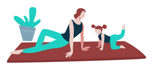 Yoga and healthy lifestyle, family exercising on mat, mother and daughter