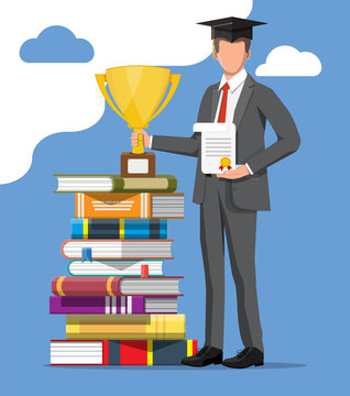 Businessman and stack of books. Business man with trophy and doploma. Education and study. Business success, triumph, goal or achievement. Winning of competition. Vector illustration flat style