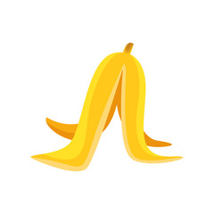 clip art a banana peel single isolated on white, illustration a banana peel yellow, icon ripe bananas peel simple fruit, cartoon banana for slip or slippery accident concept