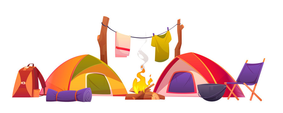Camping equipment set. Tents, burning campfire, backpack, rolled sleeping bag, boiler, chair and clothing hanging on rope for drying isolated on white background. Hiking cartoon vector illustration