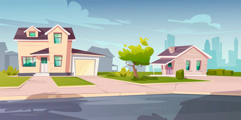 Suburban cottages, residential house with garage. Vector cartoon illustration of village mansions facade. Summer countryside landscape of with private buildings and town silhouettes on background