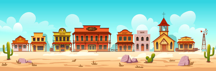 Poster Turkoois Western town with old wooden buildings. Wild west desert landscape with cactuses. Vector cartoon illustration of wild west city street with catholic church, saloon, sheriff office, bank and hotel