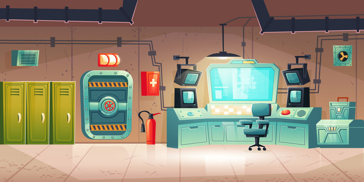 Underground bunker interior with lockers, control panel with monitors, armored door. Vector cartoon illustration of bomb shelter for survival under nuclear war. Secret science base or lab