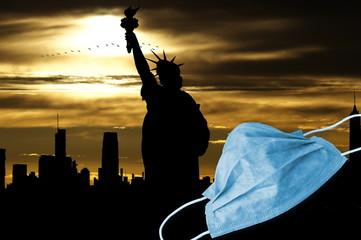Schutzmaske und Coronavirus in New York
