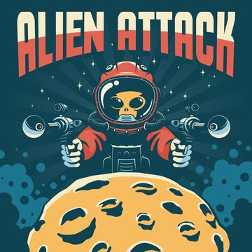 Alien astronaut attack with laser guns. Vintage space fantastic poster. Mars invaders retro book cover. Vector illustration.