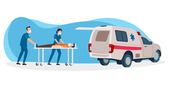 Two nurses will insert a patient who is positive for corona virus into the ambulance