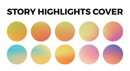 Instagram highlights stories covers icons. Set of 10 highlights gradient covers. Fully editable, scalable vector file.