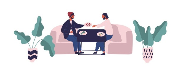 Two hipster guy sitting at table eating meal at food court vector flat illustration. Male friends relaxing on sofa during dinner or lunch isolated on white background. People having break at cafe Fototapete