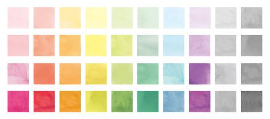 Fototapeta Vector set of rainbow watercolor square shapes. 水彩のベクター四角セット obraz