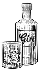 Gin drink in a glass with ice accompanied by a bottle in a vintage woodcut etched or engraved style.
