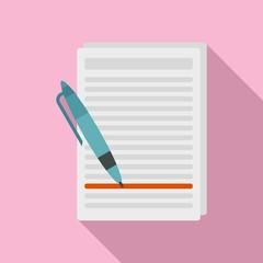 Essay edit icon. Flat illustration of essay edit vector icon for web design