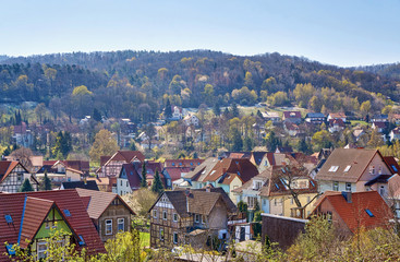 Roofs of the old half-timbered houses with blurred background in the city of Wernigerode. Saxony-Anhalt, Germany