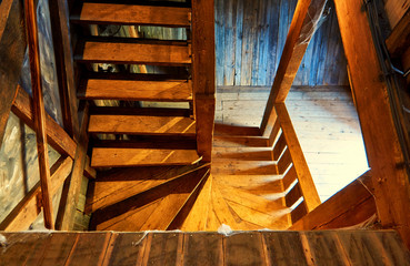 Wooden stairs in an old wooden house.