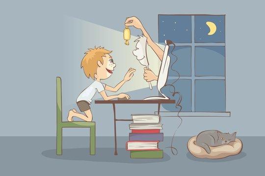 Dangerous Stranger on the Internet. Online child safety, vector illustration. EPS 10.