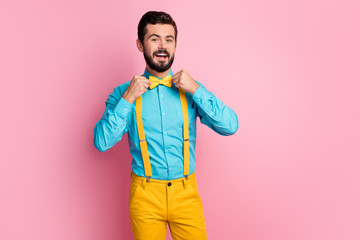 Portrait of his he nice attractive cheerful cheery glad content imposing well-dressed bearded guy...