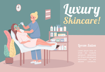 Luxury skincare banner flat vector template. Brochure, poster concept design with cartoon characters. Premium facial treatment. Green cucumber mask horizontal flyer, leaflet with place for text
