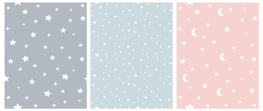 Tiny Stars Vector Patterns. Irregular Hand Drawn Simple Starry Sky Print for Fabric, Textile, Wrapping Paper. Infantile Style Galaxy Design. Little Stars Isolated on a Gray, Blue and Pastel Pink.