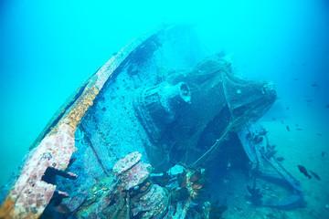 Acrylic Prints Shipwreck shipwreck, diving on a sunken ship, underwater landscape