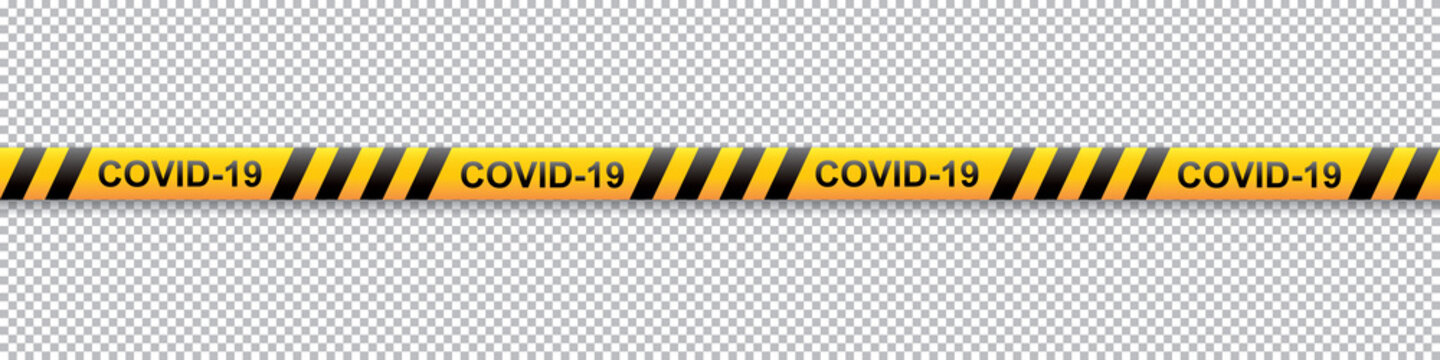 Warning COVID-19 yellow and black stripe on transparent background