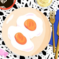 Illustration of fried eggs served with wine and coffee on table