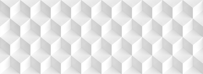 Fotobehang - Abstract Cube Panoramic Background. White Graphic Design