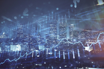 Financial graph on night city scape with tall buildings background multi exposure. Analysis concept. Fototapete