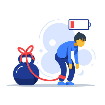 Tired man tied to kettlebell, exhausted person, male character feeling powerless, low energy state, responsibility overload