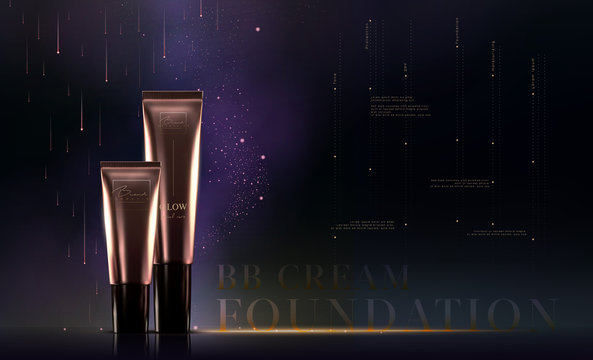 Elegant golden cosmetic luxury product background premium cream tube for skin care products. Foundation template. Luxury facial cream. Cosmetic ads flyer or banner design. Makeup products brand.