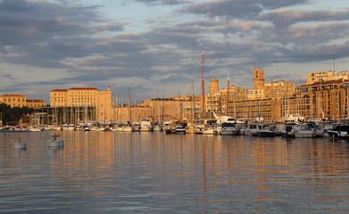 Sunrise on Marseille harbor, France